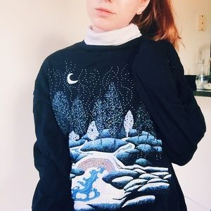 Vintage Navy Blue Wintery Crewneck